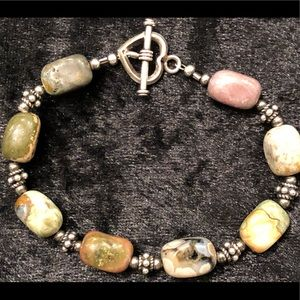 Jewelry - Natural Howlite/Agate stone bracelet set in 925.
